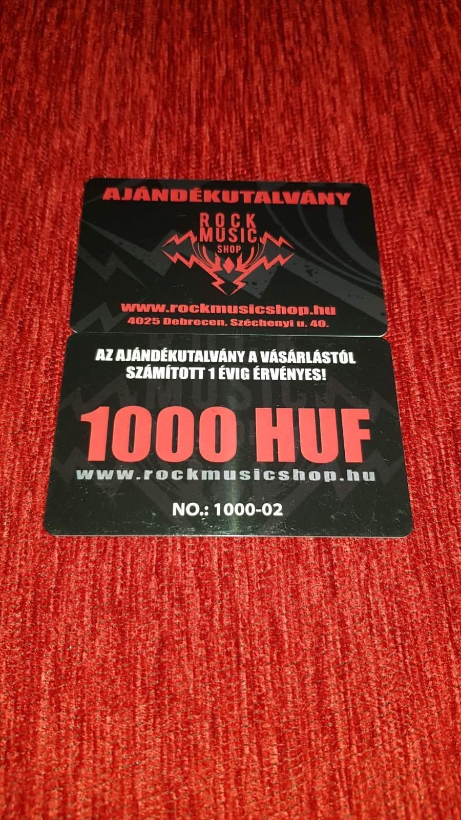 AJÁNDÉKUTALVÁNY PLASZTIK KÁRTYA (1000 HUF)